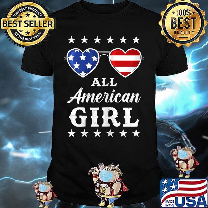 All American Girl 4th Of July Sunglasses American Flag Shirt