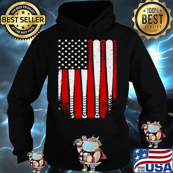 American Flag Baseball Funny Hoodie