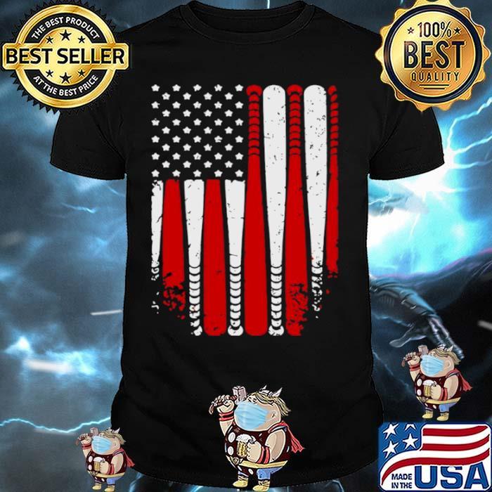 American Flag Baseball Funny shirt