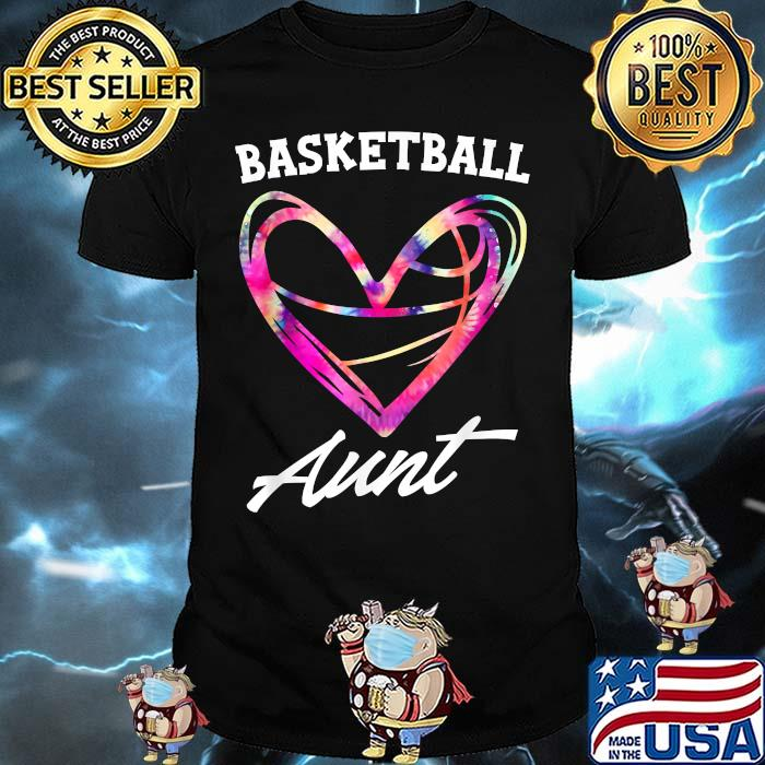 Basketball Aunt Tie Dye Heart Mothers Day Shirt