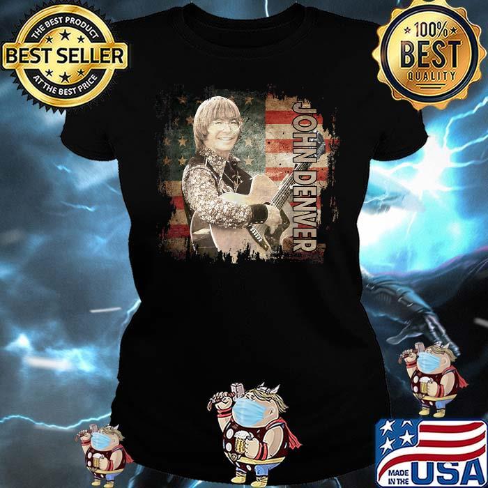 Graphic John Art Denver Vaporware Music Retro Flag American Shirt Ladies tee