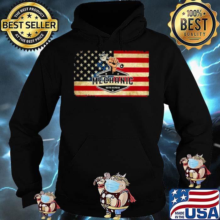 Mechanic auto repair American flag Hoodie