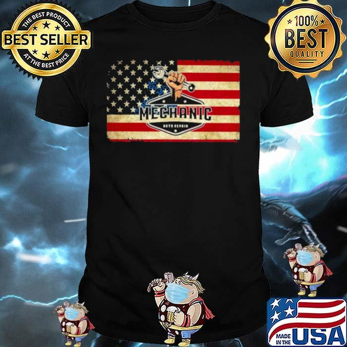 Mechanic auto repair American flag shirt
