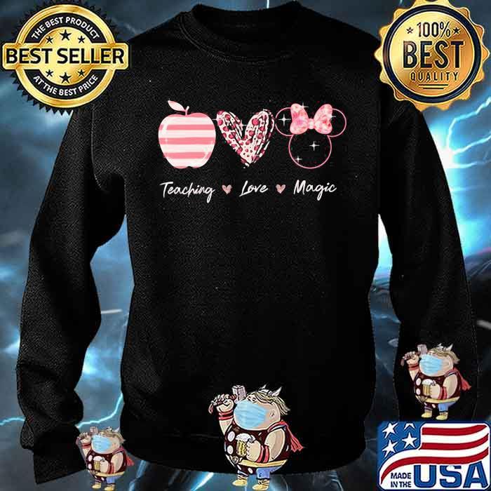 Teaching Love Magic Apple Heart Leopard Disney Shirt Sweater
